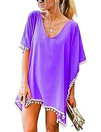 2044630bade4c UMIPUBO Mujer Ropa de Baño Suelto Vestido de Playa Borla Verano Camisolas y  Pareos Bikini Cover