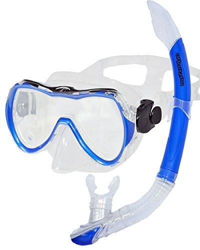 AQUAZON Rimini Hochwertiges Schnorchelset, Tauchset, Schwimmset, Schnorchelbrille mit Tempered Glas, Silikon, Schnorchel mit semi Dry top für Kinder, Jugendliche Von 7-14 Jahren, Colour:Blue