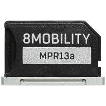 """8Mobility iSlice Micro SD Adaptador de aluminio para MacBook Pro Retina de 13"""" A1425 A1502 (Late 2012 A principios de 2015), Plateado"""