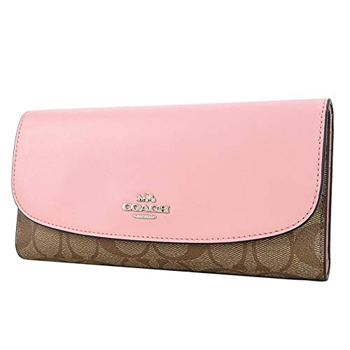 Coach F57319 Signature PVC Checkbook Wallet Khaki Petal