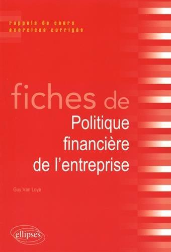 Fiches de Politique Financière de l'Entreprise