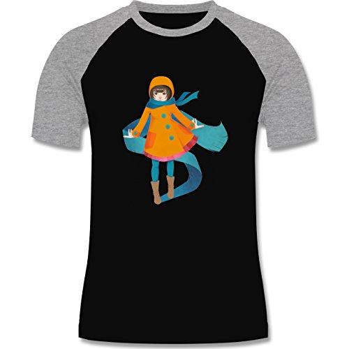 Statement Shirts - Herbstspaziergang - zweifarbiges Baseballshirt für Männer Schwarz/Grau Meliert
