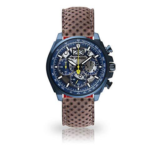 DETOMASO LIVELLO DT2060-E-846 - Reloj de Pulsera para Hombre, cronógrafo, analógico, Cuarzo, Correa de Cuero Gris Oscuro, Esfera Azul