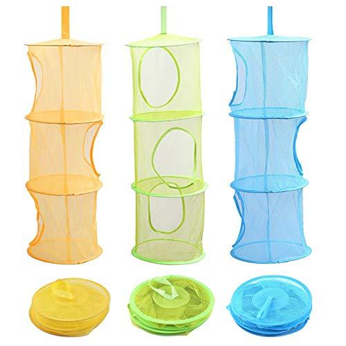 Faneli - Set di 3 cestini portaoggetti da appendere, per bambini, con 3 ripiani, pieghevoli, per vestiti piccoli (blu, verde, giallo)