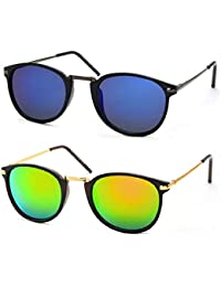Stacle Raised Metal Bridge UV Protected Retro Round Unisex Sunglasses (ST19444 Multiple Colours)