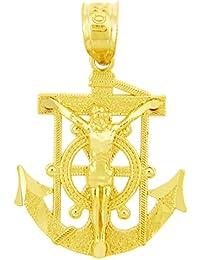 10 Quilates 471/1000 Religiosa Charmes La Marineros Del Ancla Del Oro Colgante Cruz