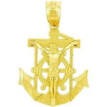 14 quilates 585/1000 Charmes religiosa El manguito de anclaje Werfen Marineros Colgante Cruz de Oro (Libro Con Cadena 45cm)