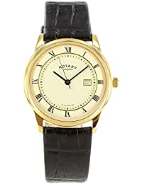 Rotary Men's Quartz Watch with Off-White Dial Analogue Display and Black Leather Strap GS02324/08