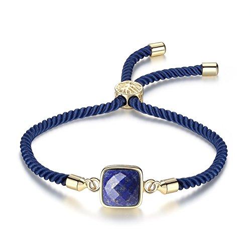 coai Geschenkideen Glücksarmband aus Lapislazuli Verstellbares Edelsteinarmband für Damen und Herren in Jeder Gewünschten Größe