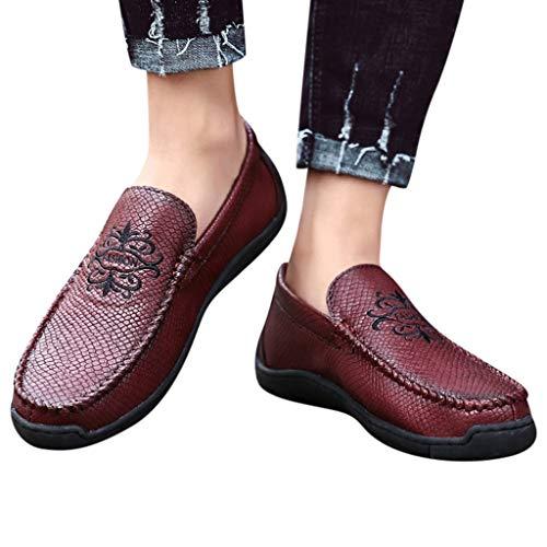 KUKICAT Lederschuhe Freizeitschuhe Herren große handgefertigte Schuhe Freizeitschuhe Erbsen Herren Faule Schuhe (Erbse Herren Mäntel)