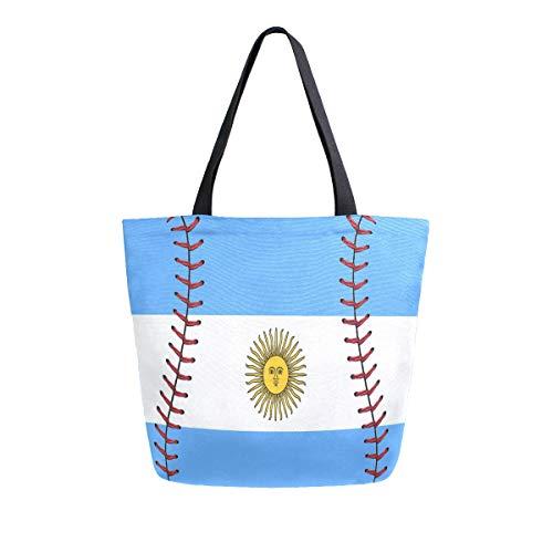 ZZXXB Argentinische Flagge mit Baseball-Spitze, wiederverwendbar, Einkaufstasche aus strapazierfähigem Segeltuch, groß, faltbar, waschbar, Handtasche Schulter für Frauen -
