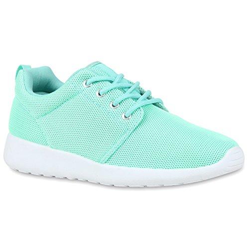 Stiefelparadies Damen Sport Übergrößen Trendfarben Runners Sneakers Lauf Fitness Prints Schuhe 106562 Hellgrün 38 Flandell