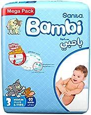 Sanita Bambi Baby Diapers Mega Pack Size 3, Medium, 6-11 KG, 92 Count