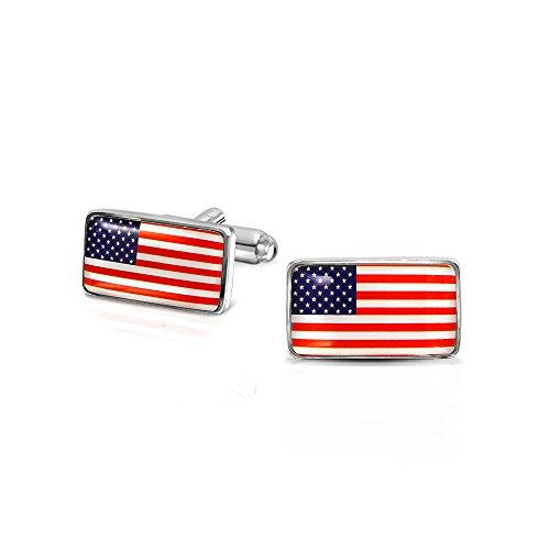 Bling Jewelry Rot Weiß Blau Stern Stripes American USA Flagge Manschettenknöpfe Für Herren Messing Edelstahl Scharnier Zurück -
