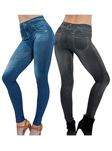 2Pcs Leggings Leggins Elásticos Jeggings Estilo Vaqueros Pantalones para Mujer Azul y Negro (XXL)