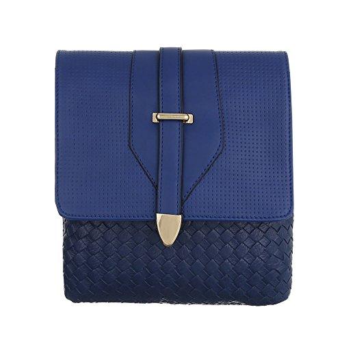 iTal-dEsiGn Damentasche Kleine Schultertasche Handtasche Tragetasche Kunstleder TA-C251 Blau