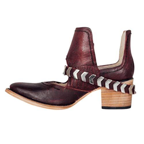 ZHANSANFM Kurz Stiefel Damen Halbschuhe mit Mid Blockabsatz Mode Vintage Römische Schuhe Frauen Elegant Ankle Boots Chelsea Loafers Schnalle Stiefeletten Schlupf-Stiefel (40 EU, rot) -