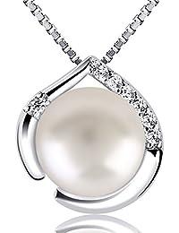B.Catcher Damen Kette Perle Halskette Herzsprache Set mit Herz Basic 925 Sterling Silber Zirkonia Schmuck
