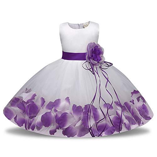 Yiqi Blumenmädchen Kleid Spitze,Prinzessinnen Kinder Halloween Karneval Kostüme Lila Weiß 110 (19 Alten Den Jahre Halloween-kostüme Für)
