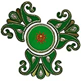 Acrylic Handicraft Rangoli With Kundan For Diwali Decoration 4 Plus 3 Diyas (Green)