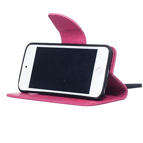 MOONCASE iPhone 7 Custodia, Goffratura Uccelli Piuma TPU Interno Portafoglio Protettiva in pelle Flip Cover Stand Case per Apple iPhone 7 Grigio Rosa Rosso