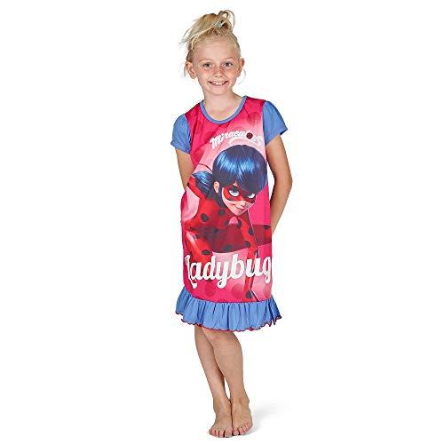Pyjama Kinder Kostüm Minnie - Disney Princess & Tv Character Mädchen Nachthemd Mit König Der Löwen, Aladdin, Cinderella, Paw Patrol, Little Mermaid | Kindernachtwäsche Mit Prinzessinnen (5/6 Jahre, Miraculous Ladybug)