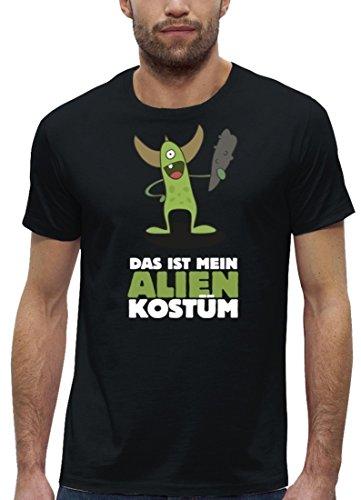 Fasching Karneval Premium Herren T-Shirt Bio Baumwolle Das ist mein Alien Kostüm 5 Stanley Stella Black