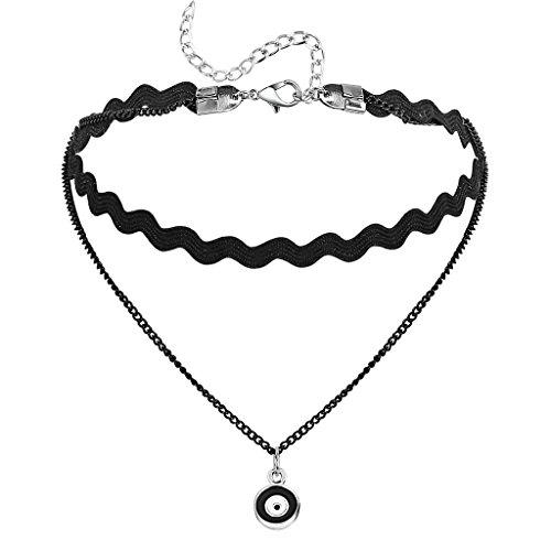 Epinki Damen Choker (Verstellbar), Doppel Halskette Gliederkette Samt Dart Board Form Anhänger Gothic Halsband Weiß Schwarz mit Zirkonia, 31+7.7 CM