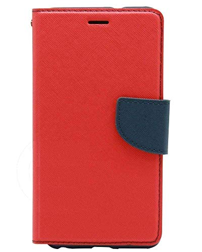 Dream2Cool Impact Resistant 2 Card Slot Cash Bills Slot Anti-Slip Design Drop Protection Flip Cover for Micromax A110 (Red & Blue)