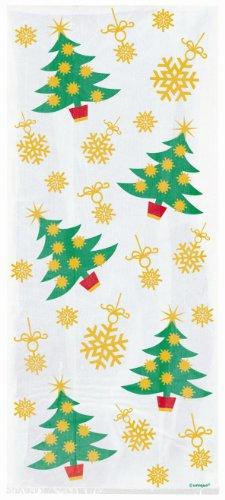 20 sacs à cadeaux en cellophane - motif festif Sapin de Noël Flocons de neige dorés - accessoire de fête