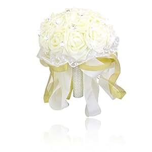 Artificiale Rosa Bouquet Di Nozze Della Damigella D'onore Le Ragazze Di Fiore Avorio