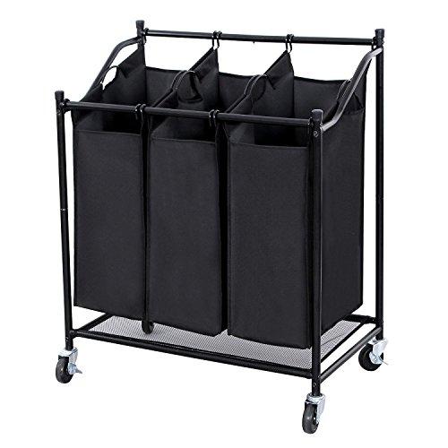 Wäschekorb Wäschesortierer Wäschewagen auf Rollen, Wäschesammler mit 3 Fächern, Metallrahmen