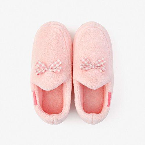DogHaccd pantofole,Home caldo inverno pacchetto coppie con cotone pantofole donna anti-slittamento autunno spessa soggiorno scarpe. Rosa1