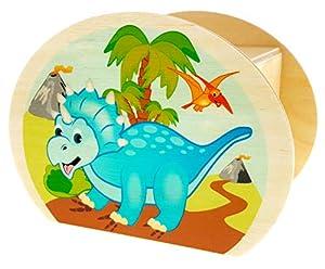 Hess Holzspielzeug 15229 - Hucha de Madera con Llave, Dinosaurio, Regalo de cumpleaños para niños, Aprox. 11,5 x 8,5 x 6,5 cm