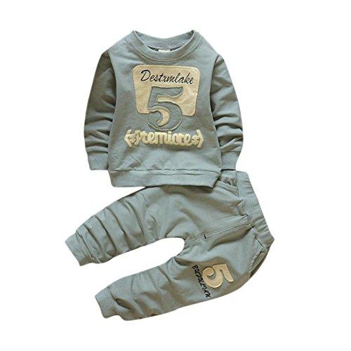 Pullover Set Kleinkind Btruely Unisex Kinderbekleidung Baby Clothes Set Langarm Spielanzug + Hosen Kappe Outfits Kinder (100, Grün) (Crew Jeans Gestreifte)
