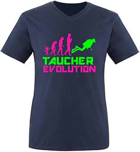 EZYshirt® Taucher Evolution Herren V-Neck T-Shirt Navy/Pink/Neongr
