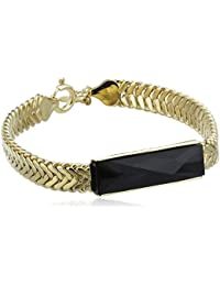 Wouters & Hendrix Women's Yellow Gold Plated 925 Sterling Silver and Copper Onyx Medium Bracelet of 17 cm