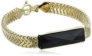 Wouters & Hendrix Bracelet Cuivre Rectangulaire Onyx Noir Femme