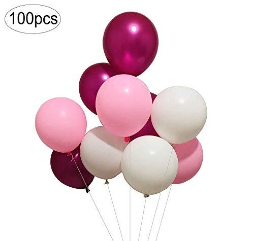 Latexballon 100 Stück 12 Zoll: Weiß und Hellrosa und rosarote Latexballons (White Magenta und Pink)