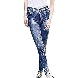 MORCHAN ❤ Femmes côté rayé Cheville-Longueur Pantalon Stretch Pantalon Slim Taille Haute Jeans Combinaisons Pantalon Court Collants Leggings Knickerbockers(25,Bleu)