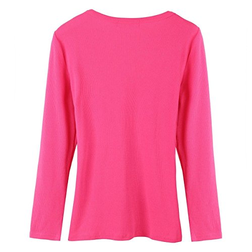 Minetom Donna Sexy Lungo Manica v Collo Top Camicetta Slim T-shirt Rose
