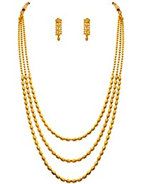 JFL - Jewellery For Less One Gram Gold Plated Bead Designer Long Necklace Set For Women