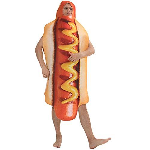 Kostüm Mann Dog Hot - NiQiShangMao Halloween Kostüm Für Männer Hot Dog Kostüm Lustige Hotdog Essen Cosplay Karneval kostüm Erwachsene Herren Party Cosplay Urlaub kostüm
