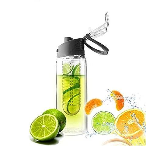 JUNGEN Bouteille 800ML Fruit Infusant D'eau Avec infuseur de Fruits et Flip Lid Jus de Citron Faire Sans Bouteille BPA 1 pcs Gris