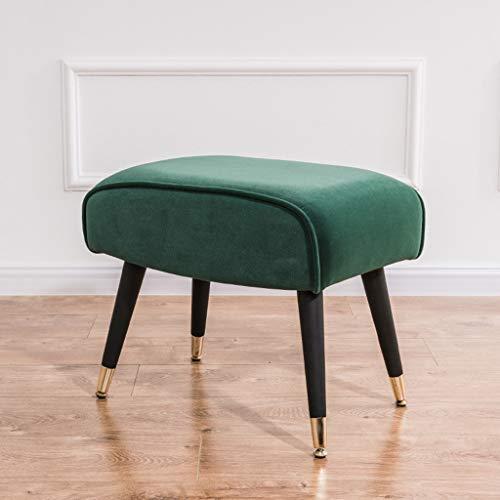 CUIS- Kleine Hocker, rechteckige Hocker, Ankleidehocker, stilvolle Softpacks for Schuhbänke, Hocker mit Ottoman-Polstersitz und Fußstütze (Color : Green) -