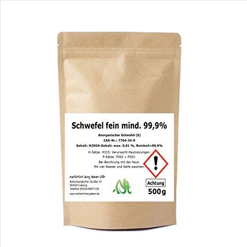 Anorganischer Schwefel (Sulfur) fein mind. 99,9% 500g pharmazeutisch rein, Original aus Naturrohstoff, hochwertig gereinigt, säurearm, doppelt verpackt (Natürliche Verdauungs-reinigung)