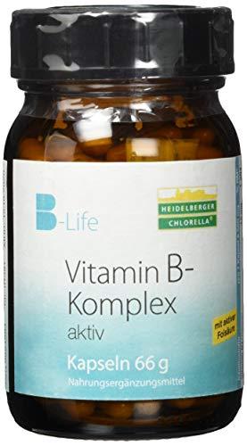 Heidelberger Chlorella - B-Life® Vitamin B-Komplex aktiv Kapseln, aktives Folat (5-MTHF als Quatrefolic®), hochdosiert, gute Bioverfügbarkeit, vegan, hergestellt in Deutschland, 66 g, 120 Kapseln