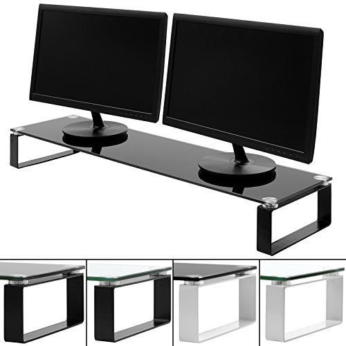 hartleys-x-large-100cm-glass-monitor-riser-stand-with-block-legs-choice-of-size-colour