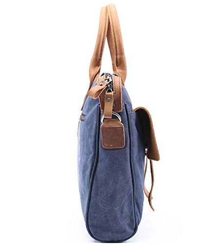 DoubleMay Herren Vintage Handtasche Aktentasche Canvas Leder Laptoptasche Henkeltasche Umhängetasche für Büro Outdoor Freizeit PLA-2023 (Blau) Blau