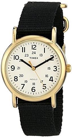 Timex T2P476 Unisex Weekender Mid-Size Indiglo Night-Light Cream Dial Slip Thru Black Nylon Strap Watch